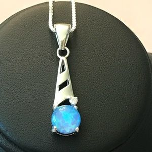 Sterling Silver Blue Opal Bar CZ Pendant Necklace